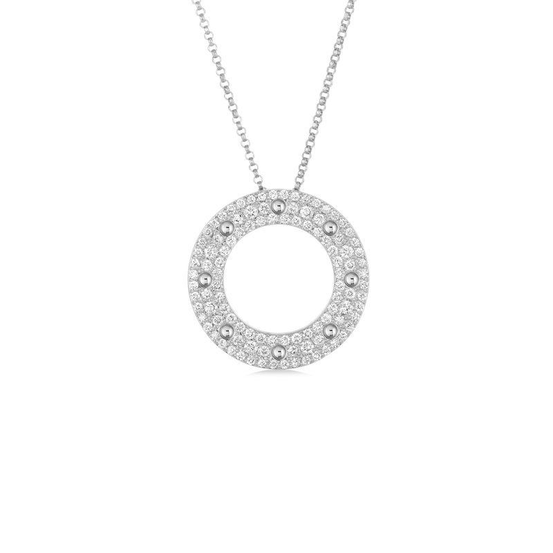 Roberto Coin Circle Pendant With Diamonds &Ndash; 18K White Gold