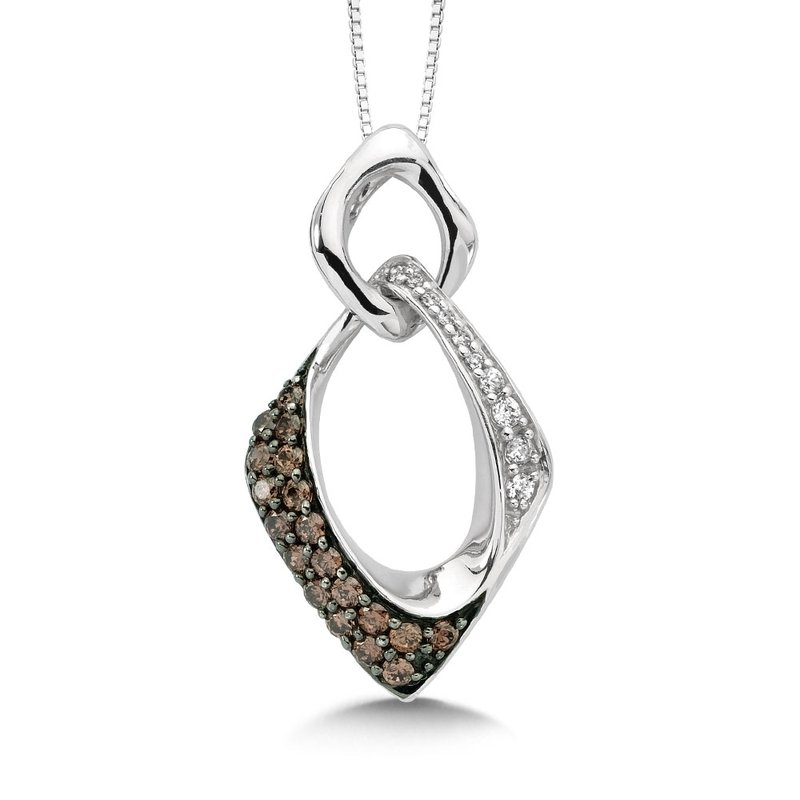 SDC Creations Pave set Cognac and White Diamond Squared Pendant, 14k White Gold  (1/3 ct. dtw.)