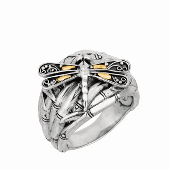 Silver & 18K Dragonfly Ring