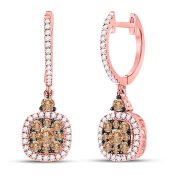 14kt Rose Gold Womens Round Brown Color Enhanced Diamond Square Dangle Earrings 7/8 Cttw