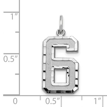14kw Casted Large Diamond Cut Number 6 Charm