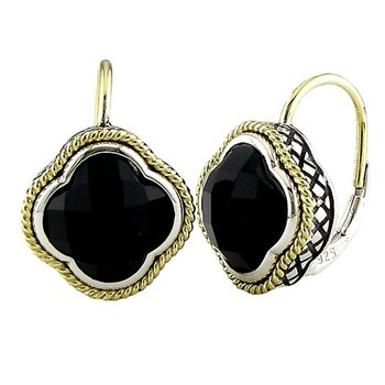 18kt and Sterling Silver Large Black Onyx Doublet Clover Euro Wire Earrings
