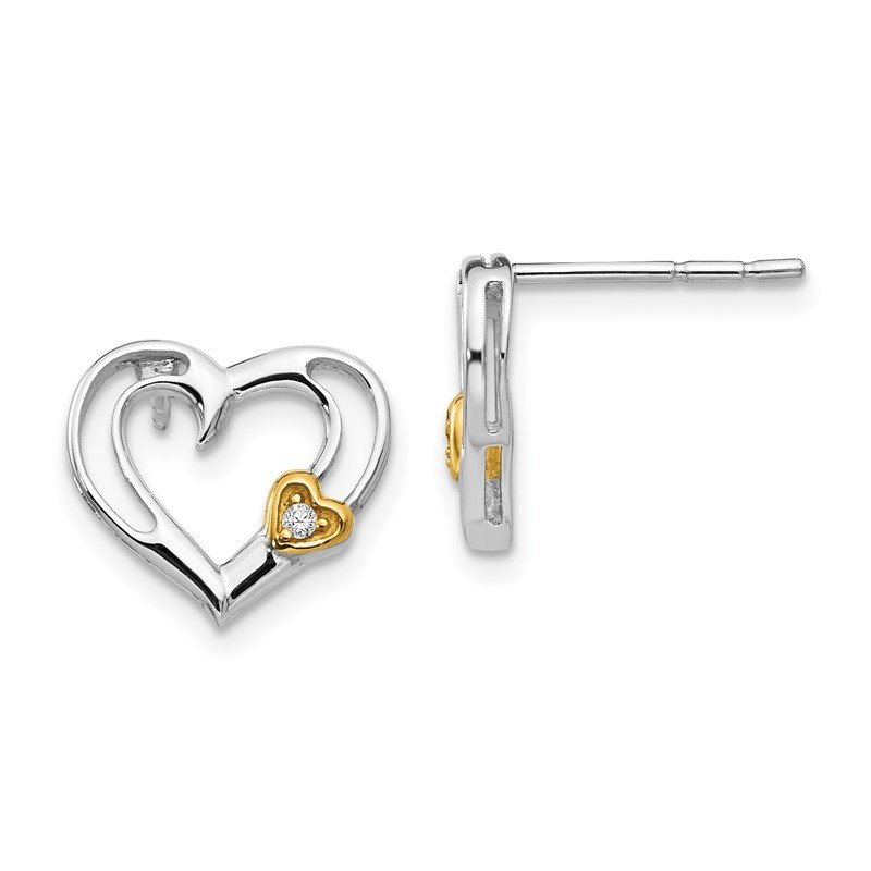 Quality Gold SS White Ice Diamond Gold-Tone Heart Earrings