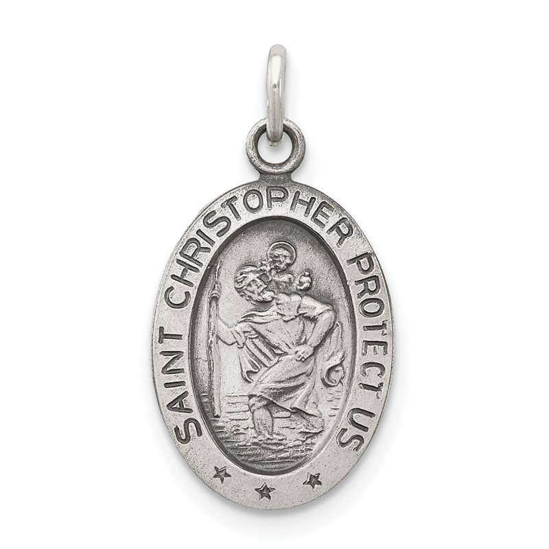 Quality Gold Sterling Silver Antiqued Saint Christopher Medal