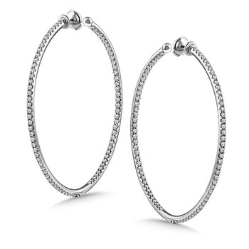 Diamond Reflection Hoops in 14K White Gold with Platinum Post (2.95 ct. tw.)
