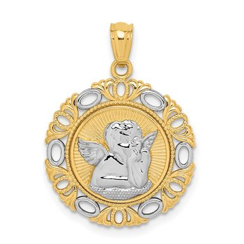 14K W/Rhodium Cherub Fancy Pendant