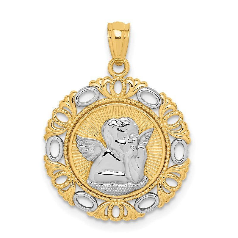 Quality Gold 14K W/Rhodium Cherub Fancy Pendant