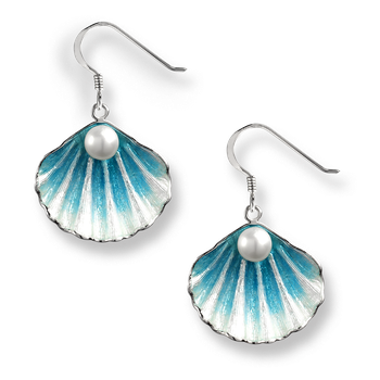 Sterling Silver Shell Wire Earrings -Blue. Pearl.