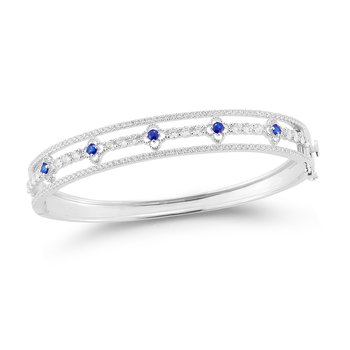 14K Gorgeous and unique Oval Bangle set with sparkling Diamonds and Sapphires