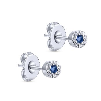 14k White Gold Round Sapphire & Diamond Halo Stud Earrings