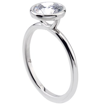 Platinum Bezel Set Solitaire Engagement Ring