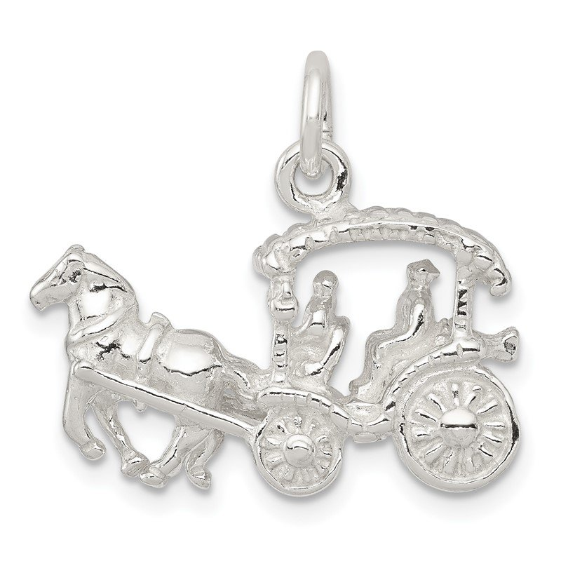Quality Gold Sterling Silver Horse & Carriage Charm