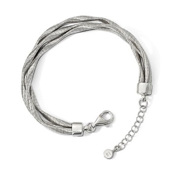Leslie's Sterling Silver Rhodium-plated 3-strand with 1in ext. Bracelet