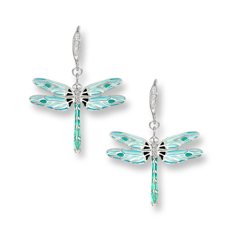 Nicole Barr Designs Blue Dragonfly Wire Earrings.Sterling Silver-White Sapphires - Plique-a-Jour
