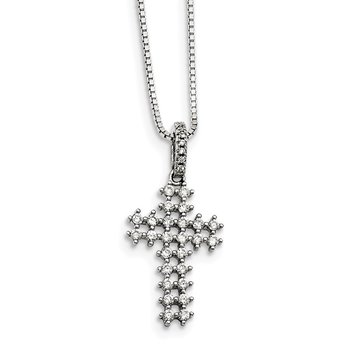 Sterling Silver CZ Brilliant Embers Cross Necklace