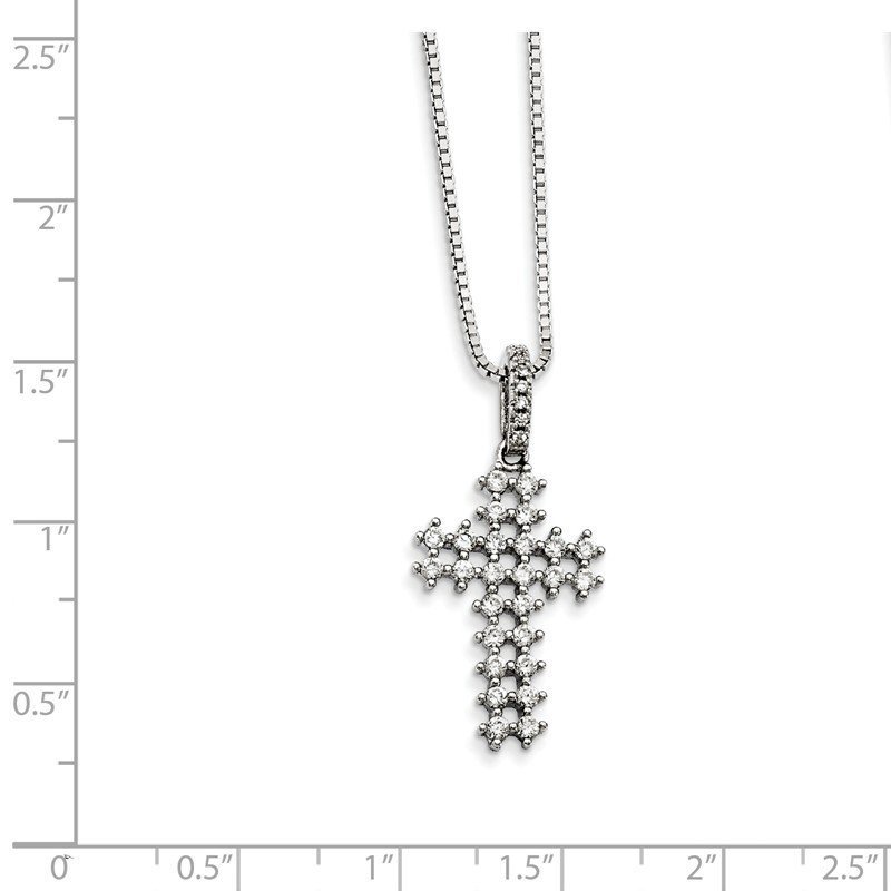 Quality Gold Sterling Silver CZ Brilliant Embers Cross Necklace