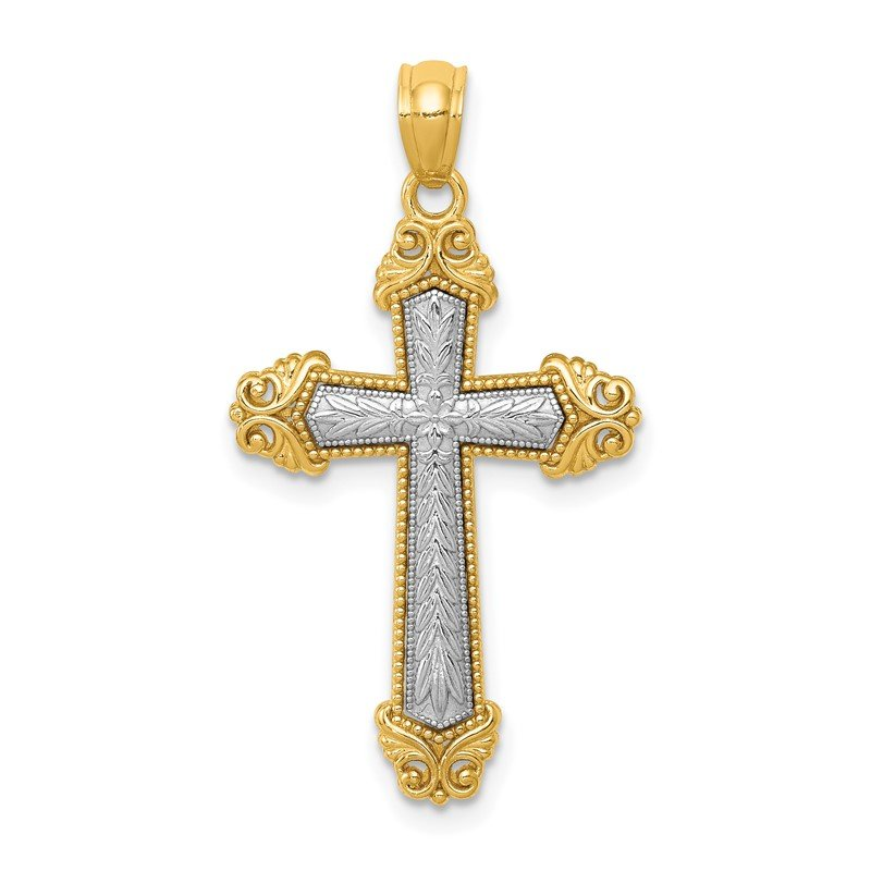 Quality Gold 14k Two-tone Polished Cross Pendant