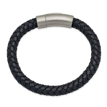 Stainless Steel Brushed Grey Leather 8.25in Bracelet