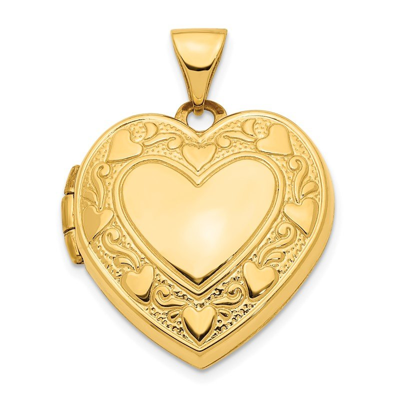 Quality Gold 14K Pink Fabric Hearts w/LOVE 19mm Heart Locket Pendant