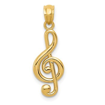 14k Gold Polished Treble Clef Pendant
