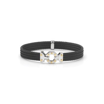 BlackCable Bracelet with Steel & 18kt Yellow Gold Octagonal Station