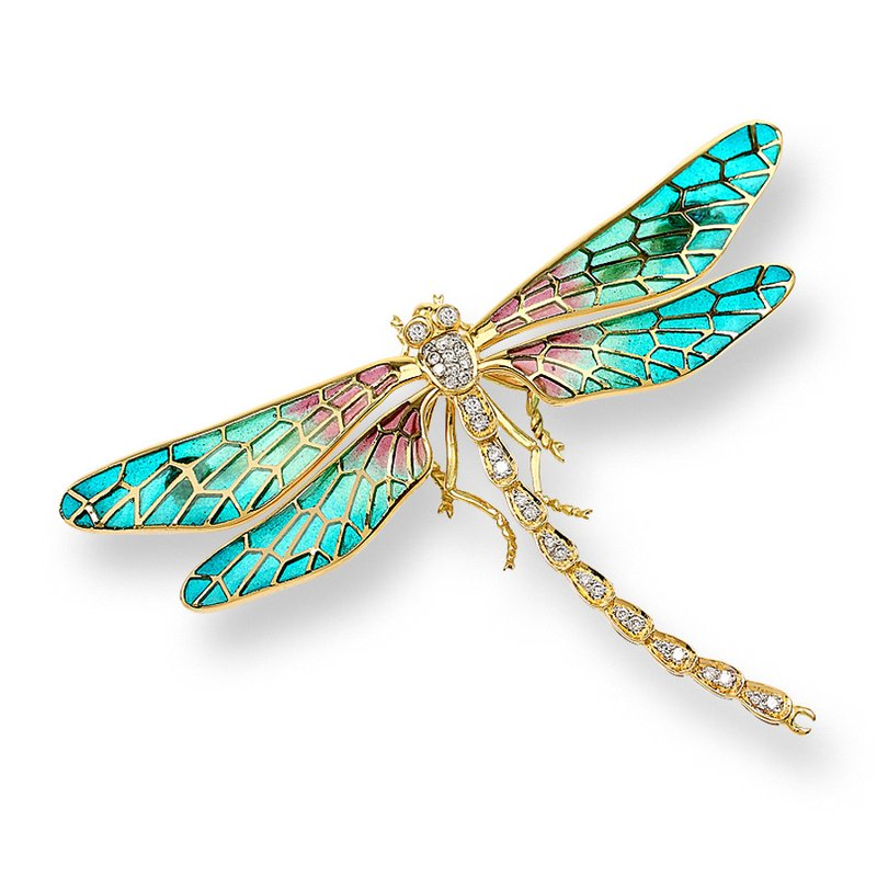 Nicole Barr Designs Turquoise Dragonfly Brooch.18K -Diamonds - Plique-a-Jour