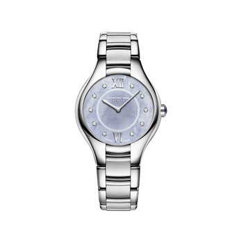 Ladies Quartz Watch, 32 mm Steel on steel, blue dial, 10 diamonds