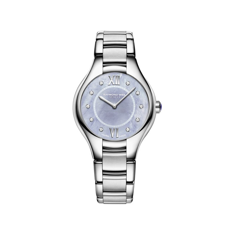 Raymond Weil Ladies Quartz Watch, 32 mm Steel on steel, blue dial, 10 diamonds