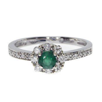 14k White Gold Emerald and .21 ct Diamond Swirl Ring