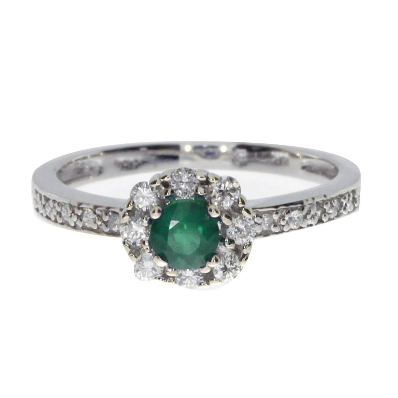 Color Merchants 14k White Gold Emerald and .21 ct Diamond Swirl Ring