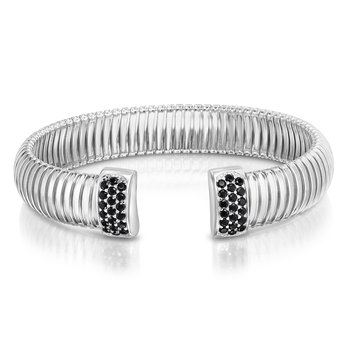Silver Cavour Black CZ Bangle