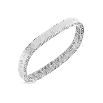 Satin Finish Slim Bangle With Fleur De Lis Diamonds &Ndash; 18K White Gold