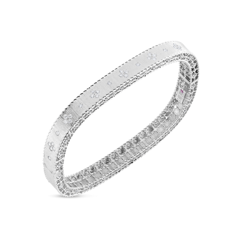 Roberto Coin Satin Finish Slim Bangle With Fleur De Lis Diamonds &Ndash; 18K White Gold