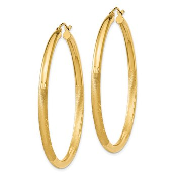 14k Satin & Diamond-cut 3mm Round Hoop Earrings