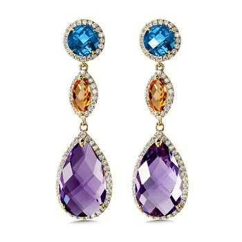 London Blue Topaz, Citrine and Amethyst Statement Earrings in 14K Yellow Gold