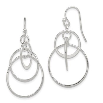 Sterling Silver Polished Dangle Shepherd Hook Earrings