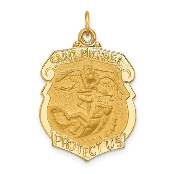 14k Solid Polished/Satin Large St. Michael Badge Medal