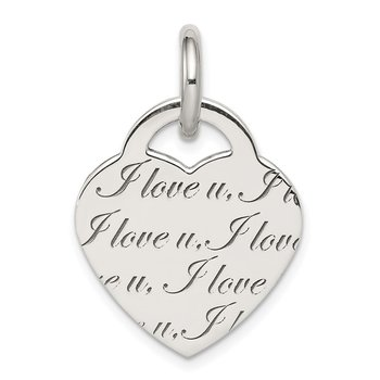 Sterling Silver Polished 'I Love u' Engraved Heart Pendant