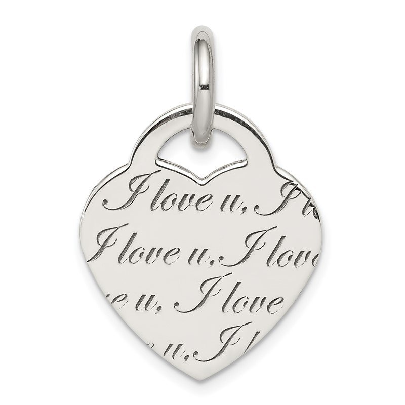 Quality Gold Sterling Silver Polished 'I Love u' Engraved Heart Pendant