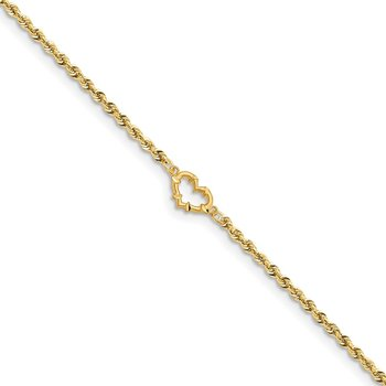 14k Diamond-cut Open Heart Rope Anklet