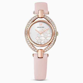 Stella Watch, Leather Strap, Pink, Rose-gold tone PVD