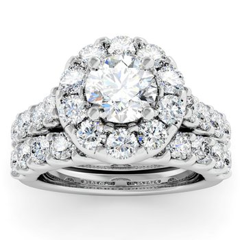 Halo Diamond Engagement Ring with Matching Wedding Band
