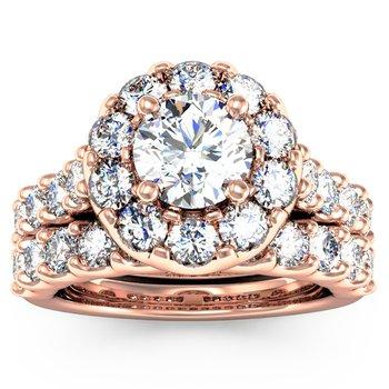 Halo Diamond Engagement Ring with Matching Wedding Band