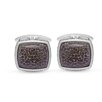 LuvMyJewelry Fossil Agate Stone Cufflinks in Sterling Silver & Black Rhodium