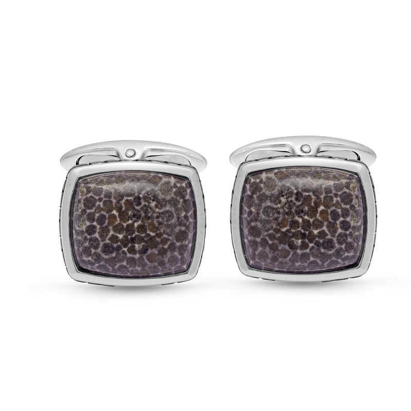 Luv My Jewelry LuvMyJewelry Fossil Agate Stone Cufflinks in Sterling Silver & Black Rhodium