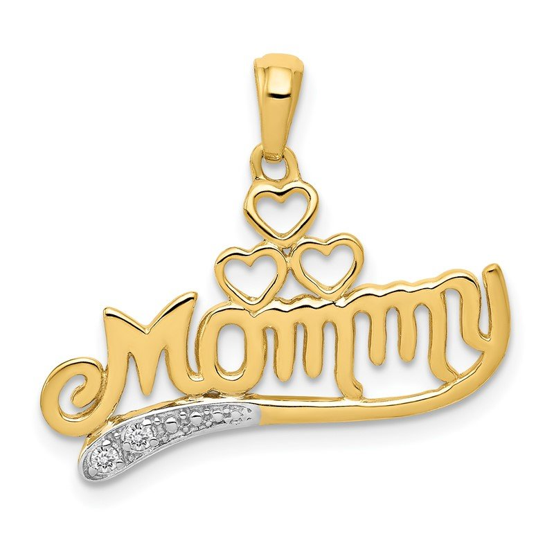 Quality Gold 14k .02 Diamond MOMMY Double Heart pendant