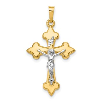 14k Two-tone Polished Fleur de Lis INRI Crucifix Pendant