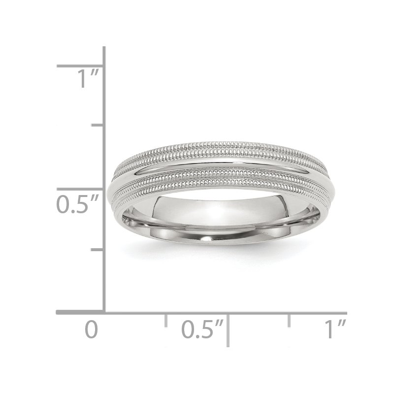 Quality Gold SS 5mm Comfort Fit Double Milgrain Size 10 Band