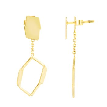 14K Geometric Honeycomb Freeform Earrings