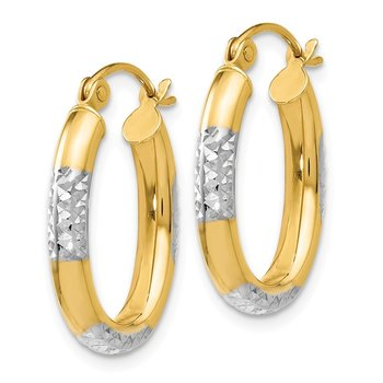 Leslie's 14K Two-tone Polished and D/C Hinged Earrings